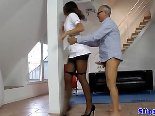 Stockinged european nurse cockriding oldman