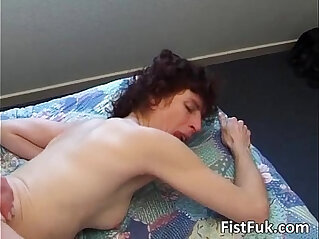 After hardcore sex guy inserts whole
