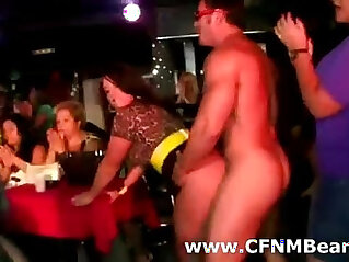 Male stripper gets blowjob at CFNM party