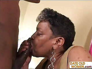 Ebony Old Grandma Helping Me