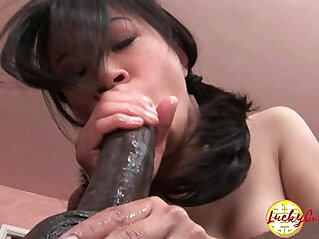 Damn pretty asian pussy being impaled by huge black cock