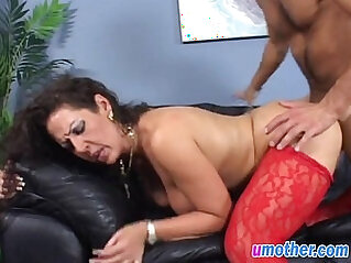 Step mom with big tits banged in doggy on couch