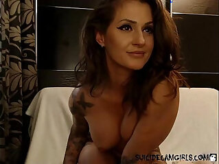 Inked step mom using lotion and playing with herself on cam