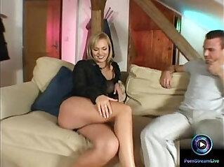 Alluring blonde Ellen Saint loves to please two huge cocks