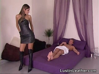 Sahara knite in leather gloves and boots having sex with guy on his birthday
