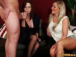 Cfnm hottie Charlie Holays sucking white cock