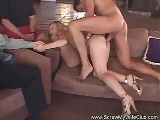 Thin Blonde Wife first Time Swinging