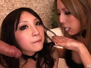 Two horny Japanese honies take control and share a hard long black cock and hot jizz