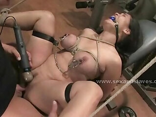 Brunette with sexy busty delicious babe fucked by coach in deepthroat and rough sex