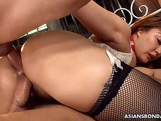 Big boobs and ass Asian sex slave made to fuck and suck