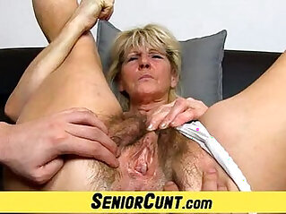 Hairy old pussy close ups and fingering with grandma Hanna