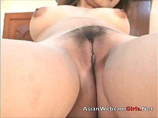 Asian model stripper finger fucks her pussy