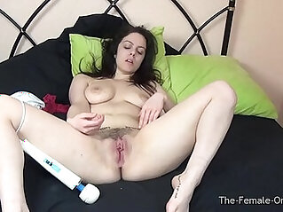 Sultry Babe playing with Pussy and Big Tits Hitachi Orgasms