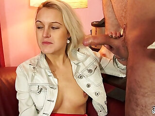 Fakeshooting Redhead Lucie is coaxed into masturbating and sucking cock