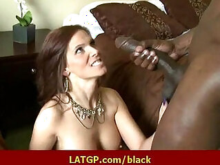 Interracial hard sex Horny brunette MILF beauty gets hard black monster cock