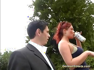 german redhead pick for gangbang in nature