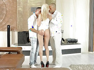 Nubiles Porn Anal spit roast for cum hungry coed