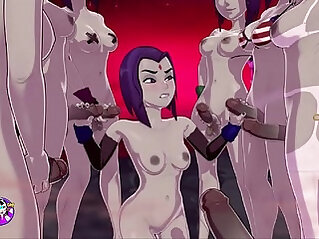 Raven gets a TERRIFIC bukkake, Fucks and Cums With Group Of Futas sexgame