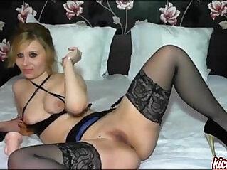 Best hot blonde lesbian babe powerfucks her dildo