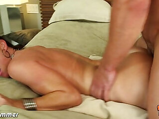 Brunette India Summer riding anally a big cock
