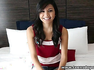 TeensDoPorn casting first time porn music video of sexy brunette amateur teen