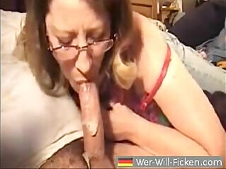 Mature wife blows her husband and gets cum in her mouth