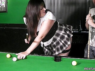 Plumper in fishnets her her fat cunt licked