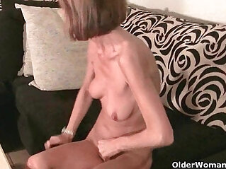 Skinny grandma massages her small tits rubs her tight pussy