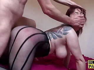 Busty redhead dominated with roughsex