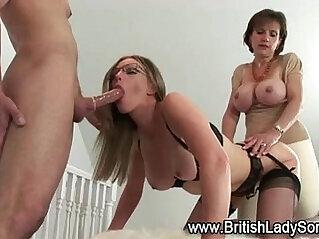 Lady takes in slut spit roast