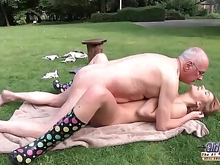 Young Porn Beautiful brunette Teen Giving Blowjob and fucked by grandpa outside