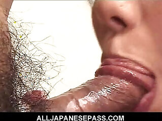 Cock sucking Japanese gets pussy filled with hard dick