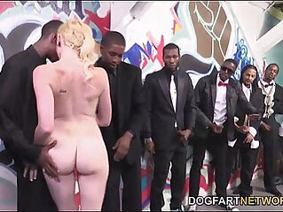 Miley May Turns An Interracial hardcore Blowbang Into A Fuck Fest