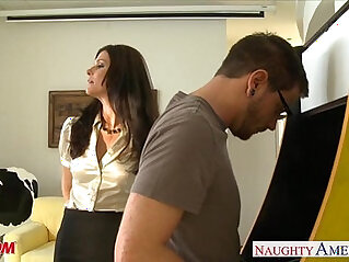 Stockinged mom India Summer gets anal fucked and facialized