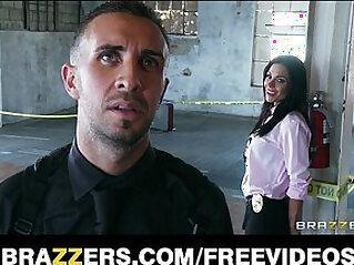 Beautiful brunette cop Kirsten Price gets her throat fucked by her partner