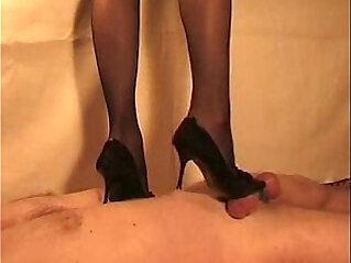British Indian Desi mistress Sophie Patel trampling cock n giving handjob slave